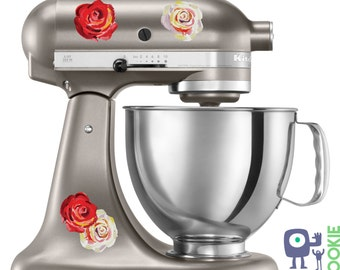 Kitchen Aid Mixer Decal of Watercolor Roses - Extra Rose Pack - Artistic Full Color Post Impressionist Painted Style Colorful Flowers