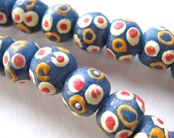 Glass beads, Krobo glass, 10 beads, red, white, blue and yellow, 12mm - # 457
