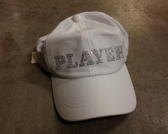 "Rhinestone Tennis Hat ""PLAYER"" in rhinestones"