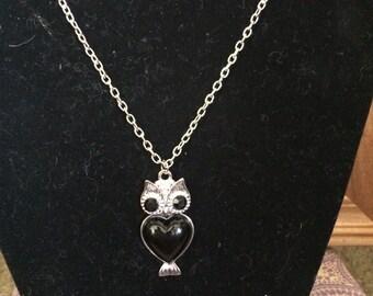 Black Body Owl Necklace