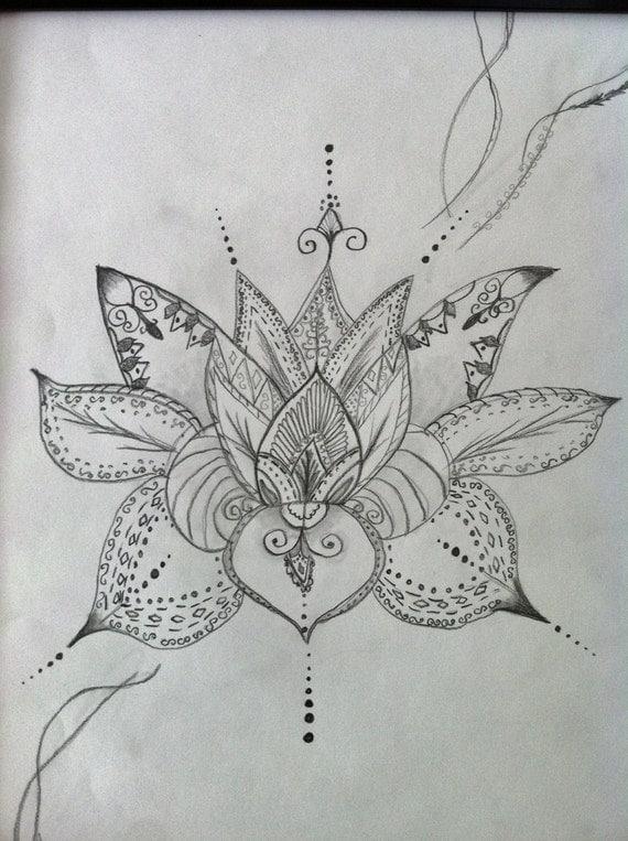 Art de fleur de lotus style henn dessin original symbole - Fleur de lotus bouddhisme ...