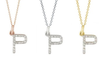 Tousi Jewelers Diamond Letter Necklace -P Alphabet Pendant -Solid 14K Gold- Gold Letter Necklace- 0.09 CT White Color Stone-Initial Jewelry