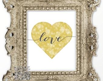 Typographic Print Valentine Card Digital Print Heart Print Gold Heart Print Love Art Heart Illustration Wall Art Love Card Print : A0259