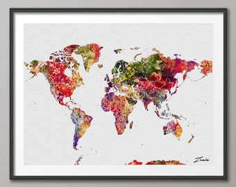 Watercolor World map watercolor poster watercolor art  watercolor map world map deocr print poster map decor watercolor world map A117-3