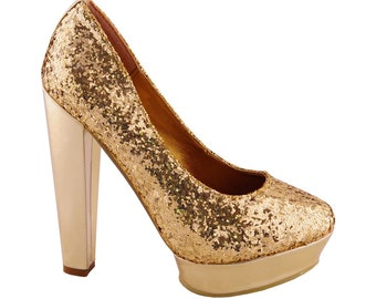 Gold Sequin Glitter Embellished Court Shoes Platform Heels - Various Sizes Available