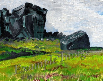 The Cow and Calf, Ilkley Moor, Yorkshire. Giclee Print of Original Oil Painting by Claire Strickland