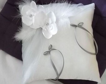 White (or ivory) wedding ring cushion orchids and gray