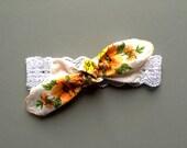 Knotted Headband / Vintage Hanky Headband / Baby Headband / Toddler Headband / Headwrap / Floral Headband