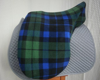 Dressage or Jump/All-Purpose saddle cover- Green/Blue/Black plaid