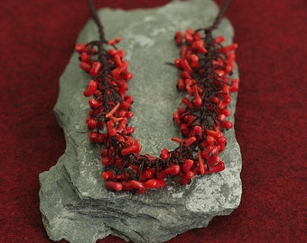Jewelry for Bema Necklace with Small, Red, Coral Beads with Handbraided Cord