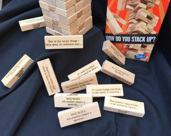 Therapy and Ice Breaker Jenga. Made to order or select from available stock. Each block is laser inscribed with a unique question or phrase.