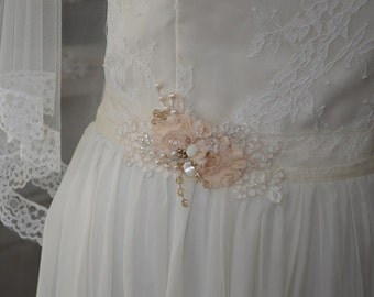 Vintage inspired romantic style bridal sash