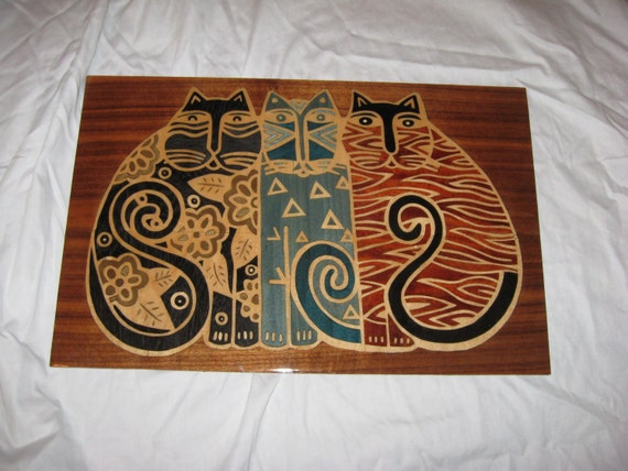 Wood Inlay Wall Decor : Intricate cats wood marquetry wall art by