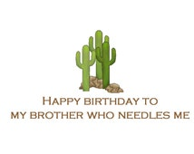 Happy Birthday Brother, Funny Brother Birthday Cards, Birthday Humor, Little Brother, Step Brother Birthday Card, Little Brother Birthday