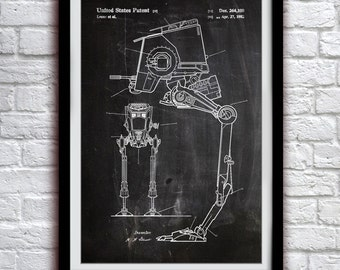 Star Wars - AT-ST Walker - Action Figure Toy - Patent Print Poster Wall Decor - 0009
