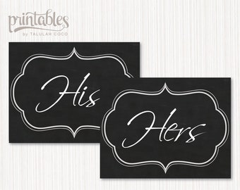Chalkboard His And Hers Sign Printable His And Hers Bathroom Sign Rustic Home Decor