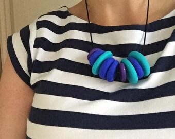 Blue bead necklace. aqua statement necklace. bold necklace. gift for her. flat bead necklace. modern necklace. Big bold necklace