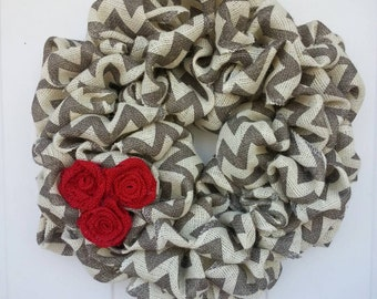 Chevron wreath / Burlap Wreath / Chevron Burlap Wreath / Gray and Red Wreath / Christmas Wreath / Everyday Wreath / Valentines day