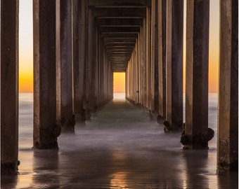 San Diego Beach - La Jolla Pier - Sunset - Fine Art Photography - Wall Decor -Orange - Balanced - Symmetry - Under The Pier