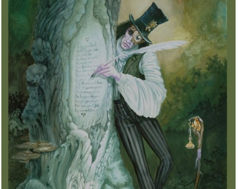 Fantasy print from original artwork titled 'The Dead Forest Calligrapher'