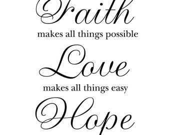 """Faith Makes All Things Possible.. 12x12"""" White & Black Canvas Wall Quote Banner"""