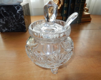 POLAND VIOLETTA CRYSTAL Jam Server with Lid and Spoon