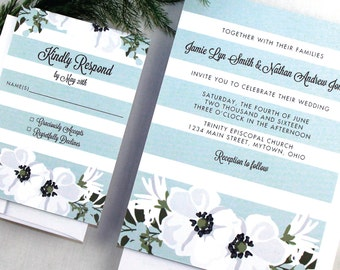 Floral Watercolor Wedding Invitation Sample, Striped