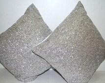 Free shipping , 2 Sequin Cushion, Sequin pillow cover, Silver sequin cushion covers , blush cushions, Decorative Pillows, Throw pillow