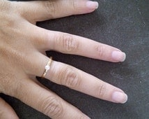 SALE!  Pearl ring, gold ring, tiny ring,  slim stacking rings, stack ring, hammered ring, small pearl ring