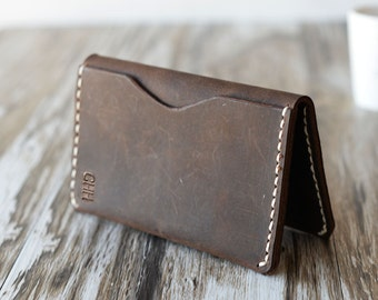 Personalized Leather Wallet 108/ Distressed Leather / Mens Wallet / Women's Wallet / Slim Wallet / Minimal Leather Wallet