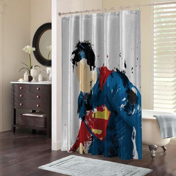 Superman Bathroom Decor: Custom Design Elegant Superman Superhero By FionasCollection