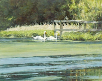 """The Courtship-Robinsons Pond, East Patchogue, LI, NY 11x14"""" Giclee Print from original acrylic painting by Mark Kilvington on Archival Paper"""