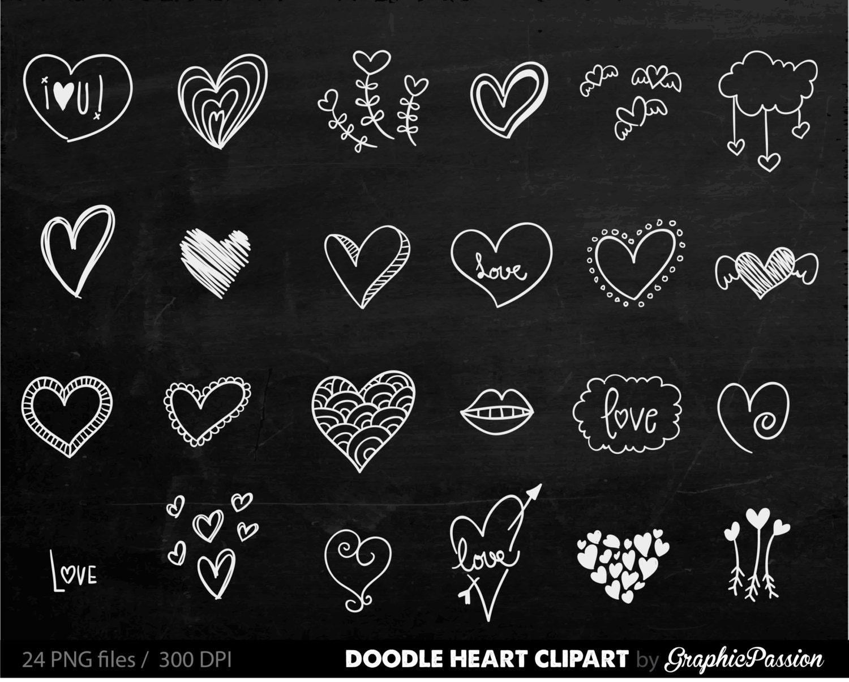 Chalkboard Hearts Clip Art Hand Drawn Clip Art Digital ...