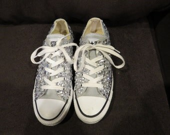 Full-Shoe Low-Top Bedazzled Rhinestone Converse (more colors available)