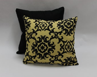 Two Mix and Match Pillow Covers, 16x16 inch,Decorative Pillow Covers, Solid Black Pillow Cover, Black and Yellow Pillow Covers