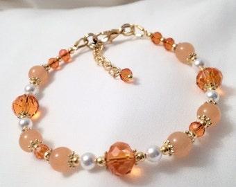Orange Topaz Bracelet - Topaz Crystal Pearl Bracelet - November Birthstone Bracelet - Healing Bracelet -