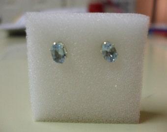 6 x 4 MM Oval Genuine Sky Blue Topaz Sterling Silver Stud Earrings 1.30 carats
