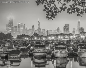 Chicago Photography- Lincoln Park, Boats in Lagoon, Chicago Skyline, Black and White Photo, Chicago Canvas Wall Art, Chicago Art Framed