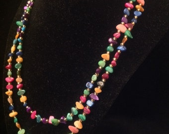 Double Stranded Colorful Bead Necklace