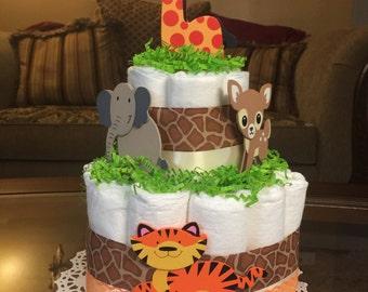 Safari diaper cake -two tier safari diaper cake -orange brown and white diaper cake