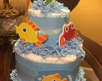Baby boy dipaer cake - beach theme dipaer cake- blue polka dots diaper cake