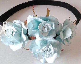 Bohemian, Head Piece, Headband, Hair, Blue, Paper Flowers, Hand Crafted, Paper, Music Festival, Accessories, Wedding, Flower Girl, Party