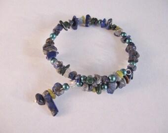 Lapis Lazuli and Malachite Bracelet; Memory Wire Bracelet, Green and Blue Bracelet