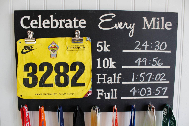 Race Medal Display Chalkboard Celebrate Every Mile Medal