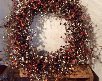 Country Wreath with Burgundy, Cream and Rose Hip Berries, Pip Berry Wreath, Rustic Wreath, Shabby Chic Decor, Country Decor, Free Shipping