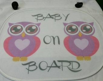 Custom car sunshade/ baby on board sunshade/ 14 1/4 x 17 1/4 sunshade