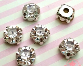 3 pcs Sew on Cut Glass Crystals 8mm in Silver Settings montees 8 holes bead ~ O8-01