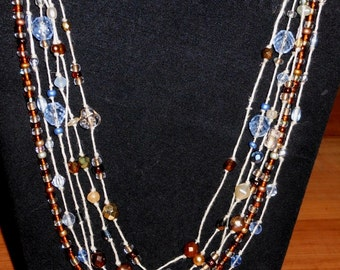 Bohemian Blues hemp and glass bead necklace