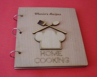 """Personalized recipe book  - All text on the wooden covers, can be personalized!  """"HOME COOKING"""""""