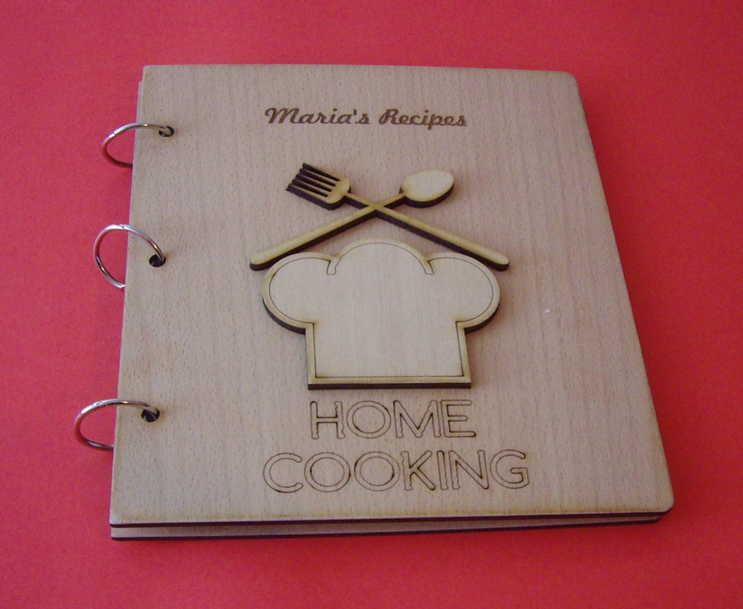 Wood Cover Cookbook : Personalized recipe book all text on the wooden covers can